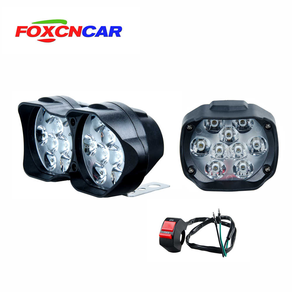 Foxcncar 1PCS 9 chip 9W 18 chip 18W LED Motorcycle Headlight with switch ATV 12V 6500K Fog Spotlight Working DRL Car Headlamp