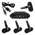 Universal Solar Energy Car TPMS With 4 Internal Sensors & Support Bar & Psi & Display Lightness Auto-Adjust