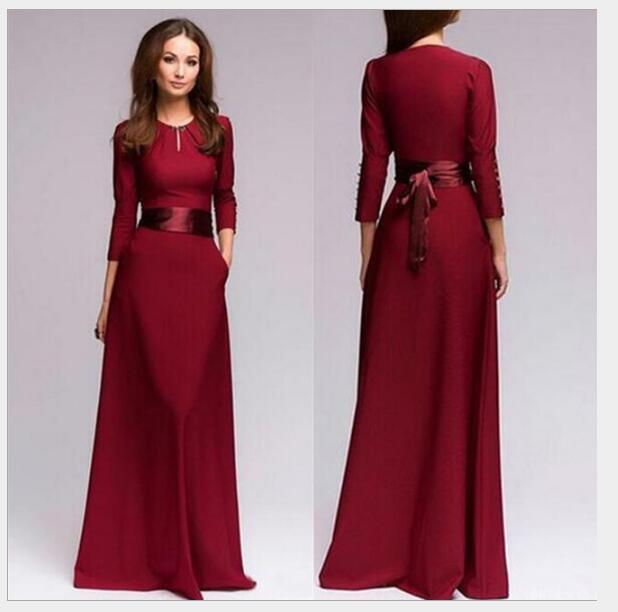 Femmes longues robes à manches longues soirée formelle fête bal Maxi robe femmes bouton automne Bandage robe bordeaux bleu vestido Y054