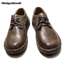 Hot ! British Style Retro Men Casual Shoes Lace Up Work And Safety Full Grain Leather  Shoes Man Outdoor Round Toe Oxfords цена