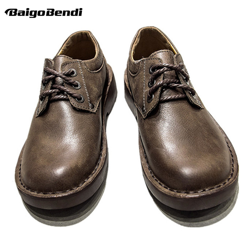 Ayakk.'ten Oksford'de Sıcak! Ingiliz Tarzı Retro Erkekler rahat ayakkabılar Lace Up İş Ve Güvenlik Tam Tahıl deri ayakkabı Adam Açık Yuvarlak Oxfords'da  Grup 1