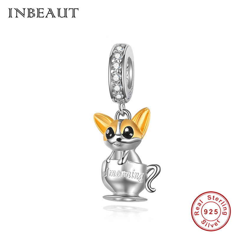INBEAUT 100% 925 Sterling Silver Lovely Teacup Dog Charms fit Pandora Bracelet Zircon England Pet Beads for Jewelry Making