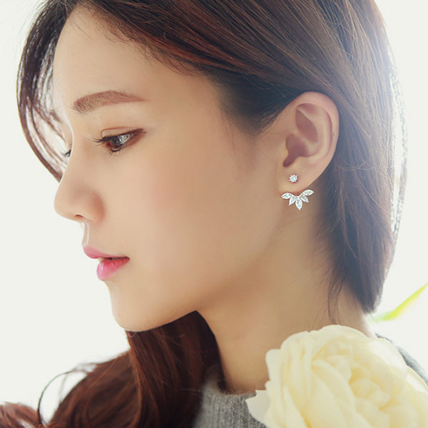 flower gold crystals product rose ear earrings earring double fashion female color stud sided jewelry women for