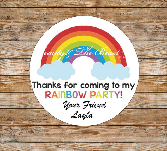 Personalized Gift Stickers Rainbow Birthday Favor For Kids Party Favors Baby Shower