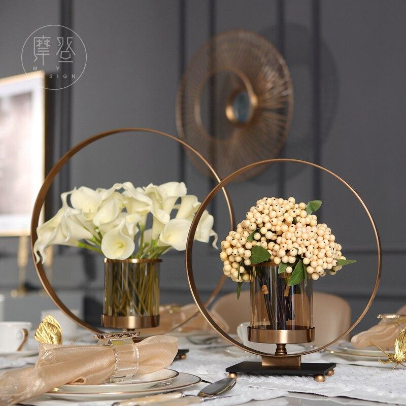 Европейский современный металлический цветок стеклянная ваза цветочный гостевой ресторан настольные мягкие украшения вилла модель украш