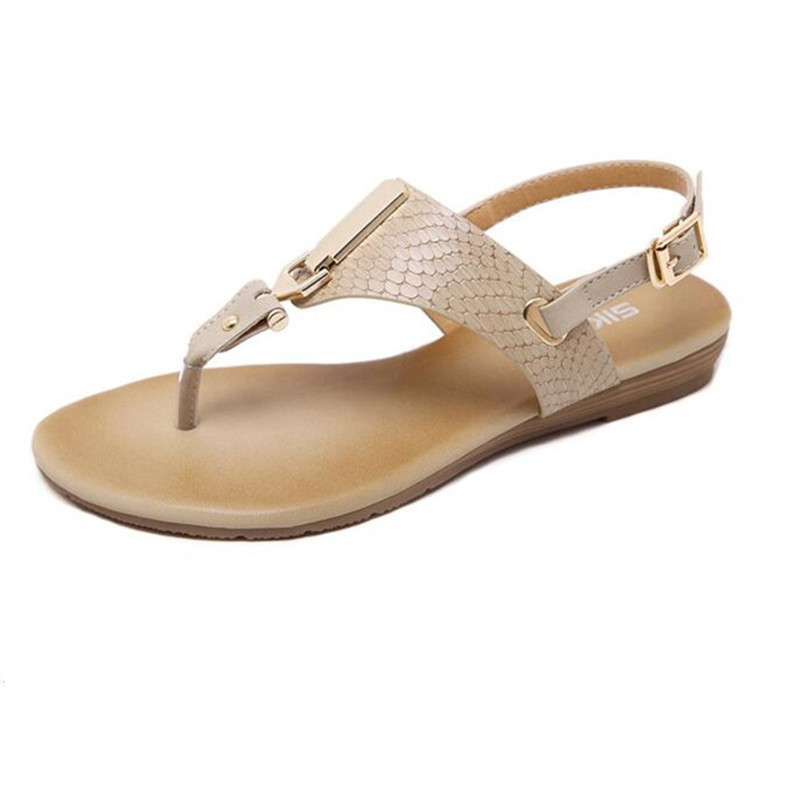 SIKETU New summer women wedge sandals shoes woman metal decoration buckle flip flip beach sandals plus size 35-41 black apricot siketu 2017 new summer beach slipper flip flops sandals women mixed color casual sandals shoes flat free shipping plus size