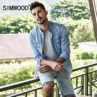 SIMWOOD 2018 New Spring Men Causal Shirts Fashion Camisa Masculinamen Long Sleeve Cotton Brand Clothing Denim