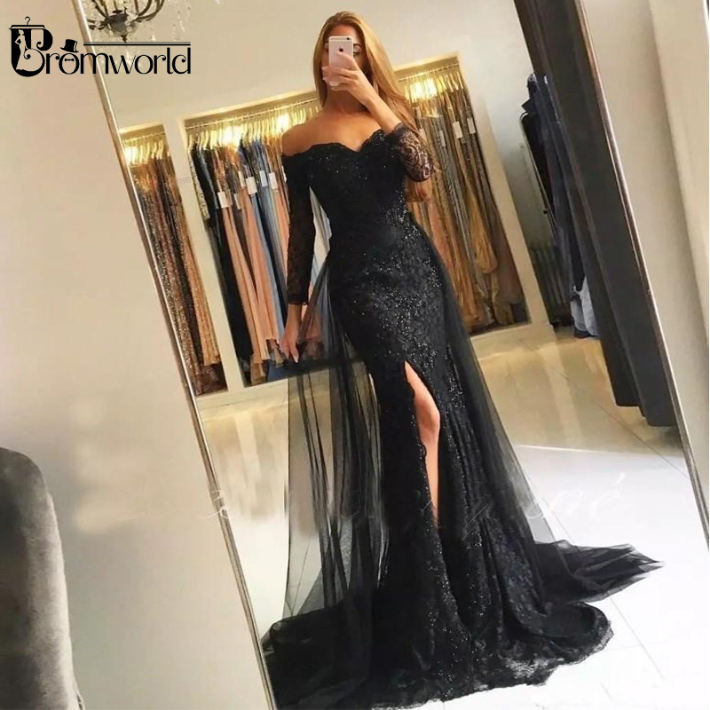 Black Muslim Evening Dresses 2019 Mermaid 3/4 Sleeves Lace Beaded Slit Tulle V-Neck Dubai Kaftan Saudi Arabic Long Evening Gown