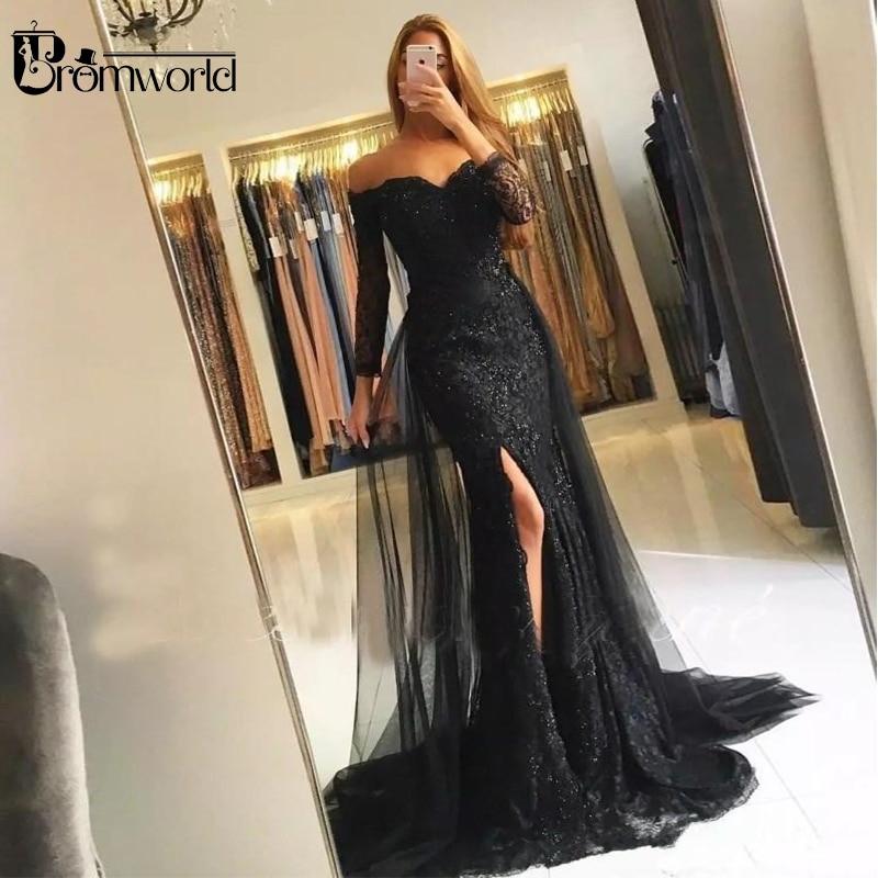 Black Muslim   Evening     Dresses   2019 Mermaid 3/4 Sleeves Lace Beaded Slit Tulle V-Neck Dubai Kaftan Saudi Arabic Long   Evening   Gown