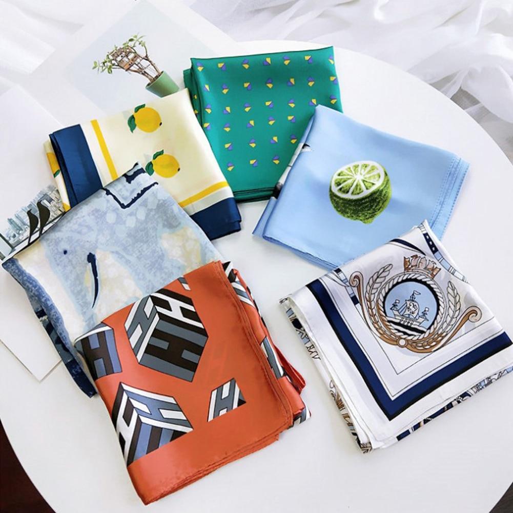 70*70cm Small Square Silk Scarf Artifical Satin Scarf Foulard Femme Elegant Vintage Women's Wrap Handkerchief Silk Hair Scarf