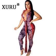 XURU Fashion Casual Print Jumpsuit Women's Deep V-neck Summer Sexy Leotard with Belt