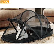 цены на Petshy Portable Dog House Cage for Small Dogs Crate Cat Net Tent Cats Outside Kennel Foldable Pet Puppy with Mosquito Net Tents  в интернет-магазинах