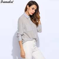 FANALA Women Shirts Blouse Spring Summer Long Sleeve Turn Down Collar Pocket Stripped Shirt Blouses Women