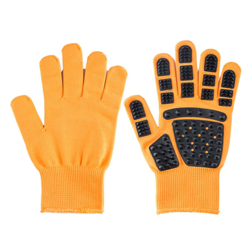 Set of Pet Grooming Gloves for Animal Hair Removal for Dogs and Cats Made of Synthetic Fiber with Soft Tips Useful for Cleaning of Pets 2