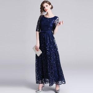 Image 4 - Borisovich 女性イブニングパーティーロングドレス新ブランド 2019 春イングランドスタイルの豪華な刺繍エレガントな女性マキシドレス N726