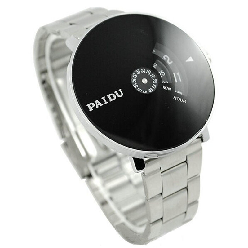 Relojes Hombre 2018 Stainless Silver Band PAIDU Quartz Wrist Watch Black Turntable Dial Mens Gift Mens Watches Top Brand Luxury