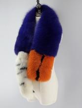 Знаменитости впп стиль женские зимние теплый шарф, роскошь натурального меха лисы длинный шарф с хвостом, мода женские меховые шарфы обертывания