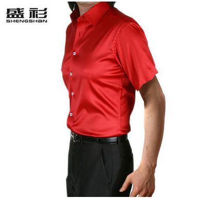Новое поступление, летняя стильная шелковая Повседневная однотонная мужская рубашка с коротким рукавом, трендовая модная повседневная рубашка из искусственного шелка - Цвет: red