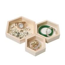 3pcs Unpainted Hexagonal Wooden Trinkets/Jewelry Storage Box Kids Craft DIY Jewelry Organizer ring Box earring holder display