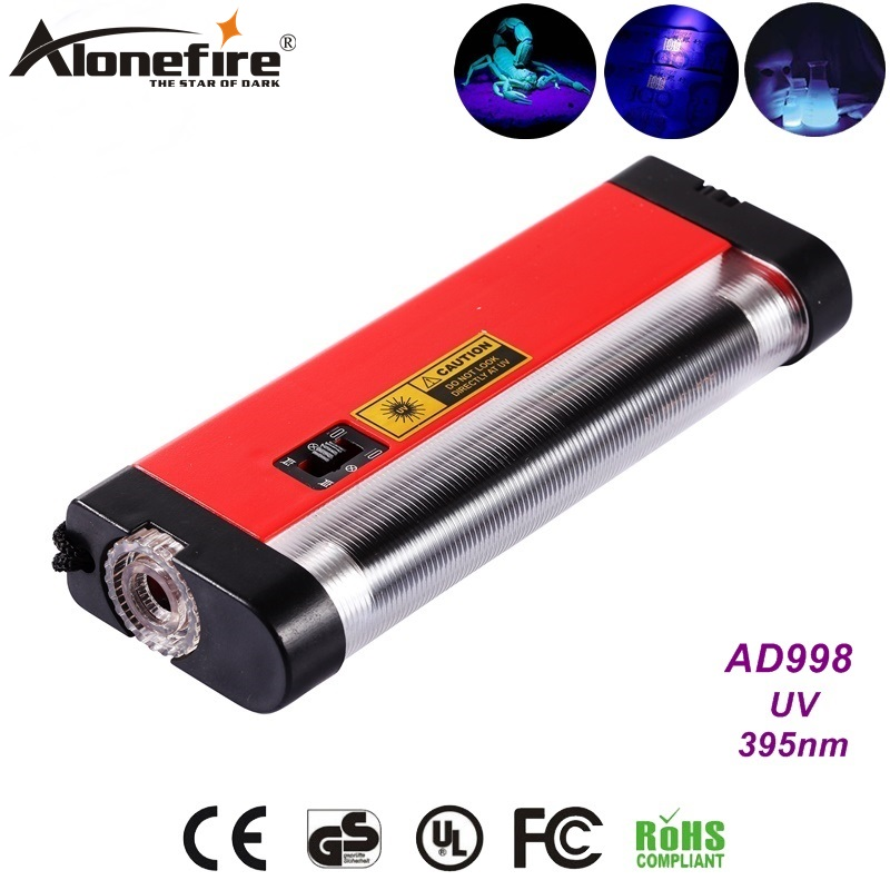 AloneFire AD998 4W Ultra violet light Travel Money ID Currency Passports UV Detector Lamp White light flashlight AA Dry battery