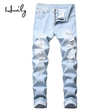 HMILY New Fashion Destroyed Jeans Men Long Trousers Straight Light Blue ripped distressed jeans masculino Denim Pants for Male straight leg light wash distressed jeans