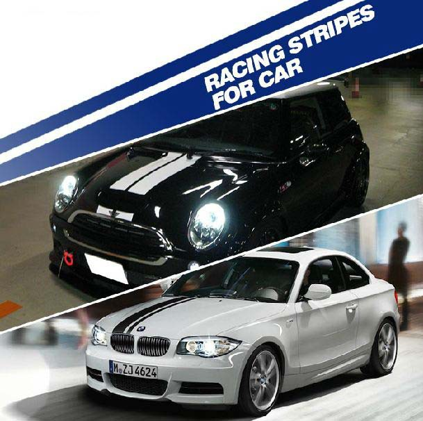 Black white blue racing stripes sticker car roof the whole body reflactive waterproof car stickers decals auto decoration in car stickers from automobiles
