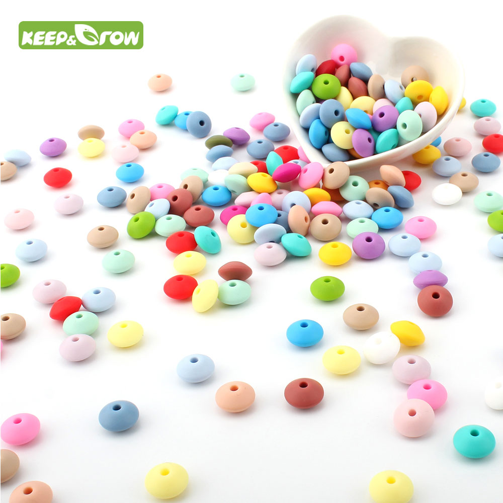 KEEP&GROW 100Pcs Lentil Abacus Round Silicone Beads 12MM Teething Necklace Baby Teether DIY Pacifier Chain Food Grade Silicone