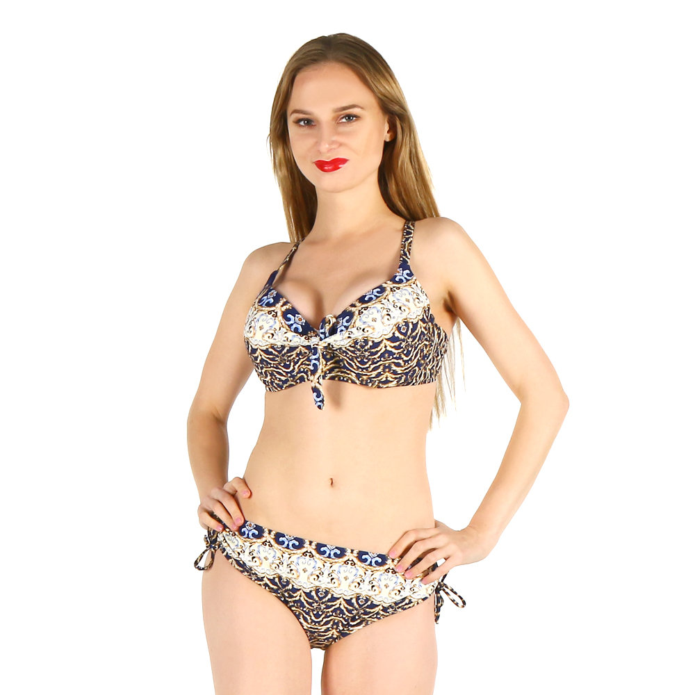 Фотография bikini wowen swimwear sexy bathing suit printed sexy swimsuit low waist leopard halter lace big size large cup plus bust