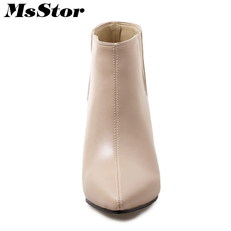 MsStor Plus Size Pointed Toe High Heel Boots Shoes Woman Fashion Elegant Cheap Ankle Boots Women Shoes Thin Heel Women Boots