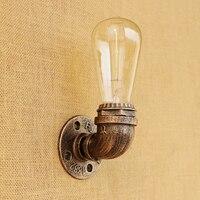 Fashion Loft Water pipe wall lamp Industrial metal rust vintage E27 sconce light for living room bedroom restaurant bar 80v 240v