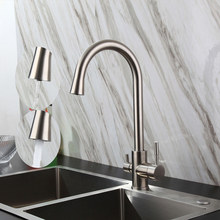Contemporary Three Way Sink Mixer Water Filter Tap 304 SUS Kitchen Faucets Drinking Water Faucets Brushed