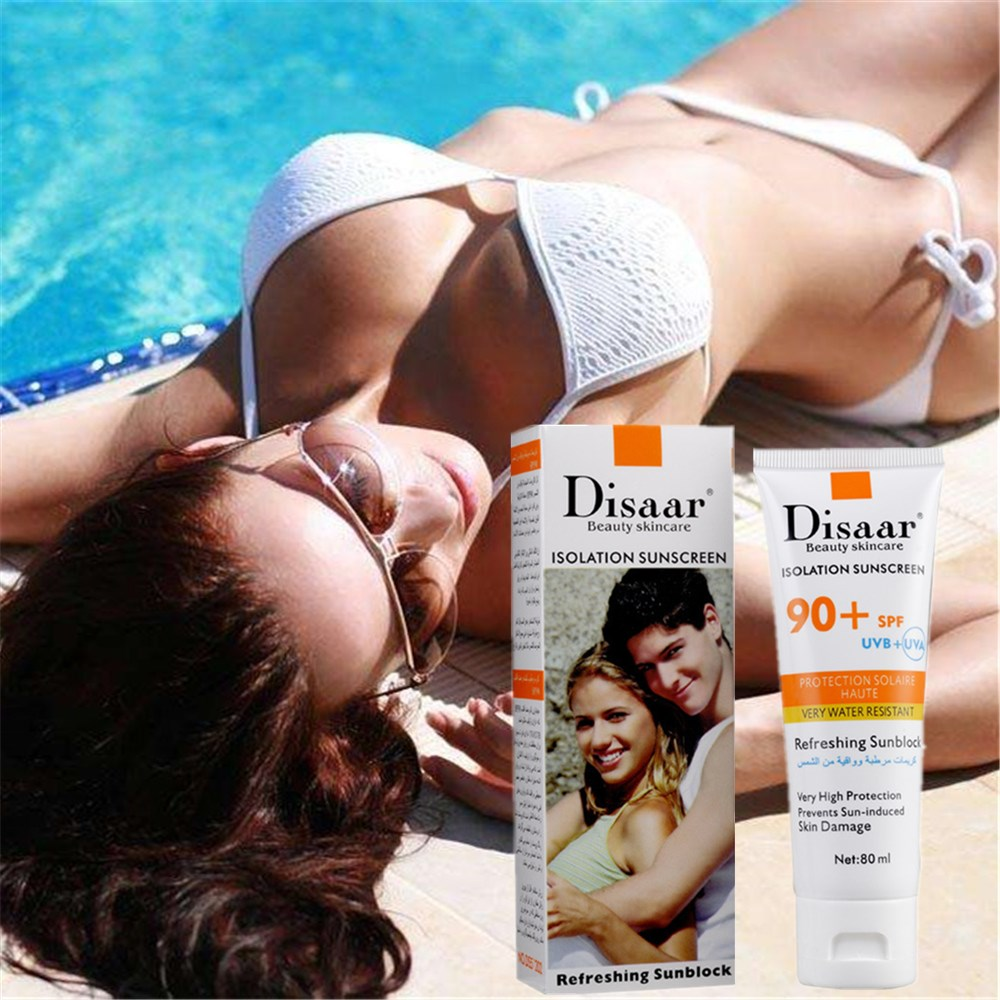 DISAAR Strong Isolation Perfect Cover Isolation Sunscreen SPF90PA++  Nude Glow Skin Whitening Compact Foundation Makeup 80ml