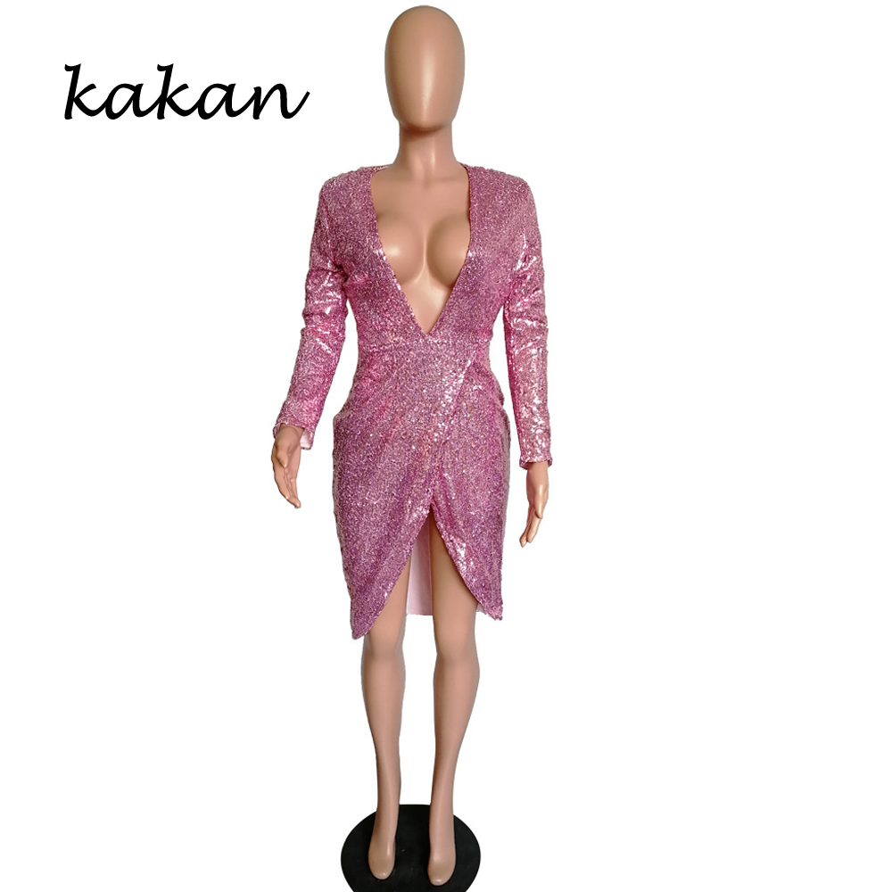 Kakan 2019 spring new women 39 s sequin dress sexy fashion V neck irregular long sleeved dress club party dress in Dresses from Women 39 s Clothing