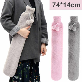74*14cm Fur Rubber Extra Long Hot Water Bottles Bag With Knitted Removable Cover For Waist Hand Foot Warming Pink Grey
