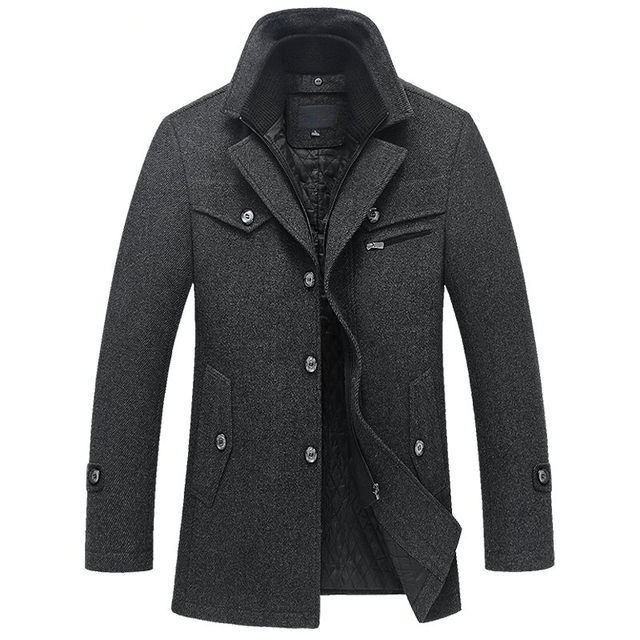 2016 Autumn Winter New Thick Warm Woolen Men Coats  High Quality Slim Single Breasted Medium Long Wool Jacket Men