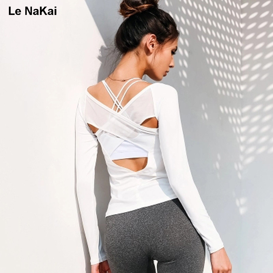 Le NaKai Cross back Mesh yoga shirt Long sleeves White open back yoga top shirt fitness women sport top workout black gym shirt