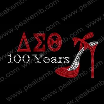 Wholesale 30pcs/Lot Free Shipping Custom Rhinestone Transfer Design AEO 100 Years and high heel shoes Hot Fix Iron Ons