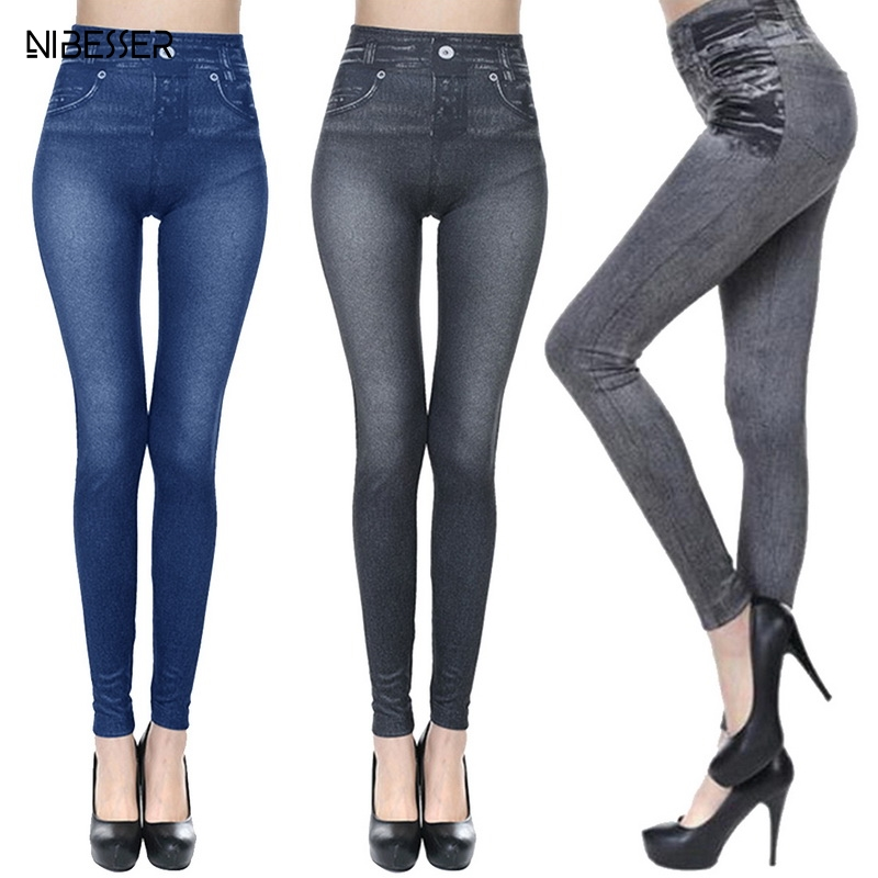 NIBESSER Hot Jeans For Women Denim Pants With Pockets Pull Cashmere Body Imitation Cowboy Slim   Leggings   Women Fitness Plus Size