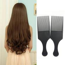 Peine cepillo pelo rollersc peine para cabello 2018 Afro rizado peine  cepillo de pelo Salon peluquería Styling diente largo esti. cc60faa67ff9