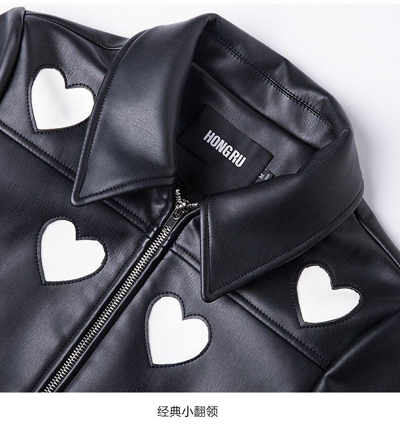 Style À Veste Pu Cercle Couture Amour De Marque Femelle Court Vestes Wj2831 Longues Black Élégant Balck 2019 En Manches Mode Cuir qxZUYwt