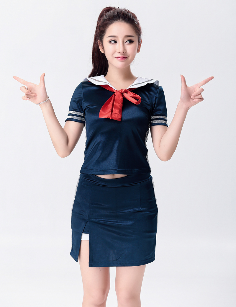 MOONIGHT Singer Stage Show Deep Blue Clothing Outfit Nightclub Performance Wear Singer Lead Dancer Clothing with Bow