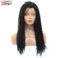 DLME Kinky Curly Black Color Synthetic Lace Front Wig with Baby Hair Lace High Temperature Heat Resistant Fiber