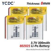 3.7V 300mAh Li-ion batterie polymère lithium ion batterie pour tablette pc MP3 MP4 jouet électrique [802025] remplacer [802025] Batteries