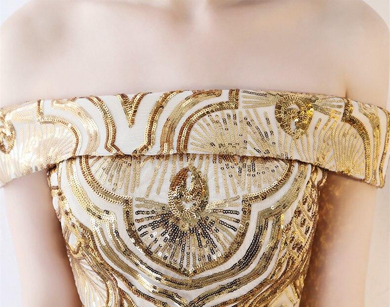 Robes De soirée sirène longues paillettes col bateau Longue Robe formelle 2019 épaule dénudée Elie Saab robes Robe De soirée Longue Femme - 5