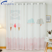 Custom 3D Blackout Curtains Nordic Clouds Raindrop Ice Cream Pattern Thickened Fabric Children Bedroom Curtains for