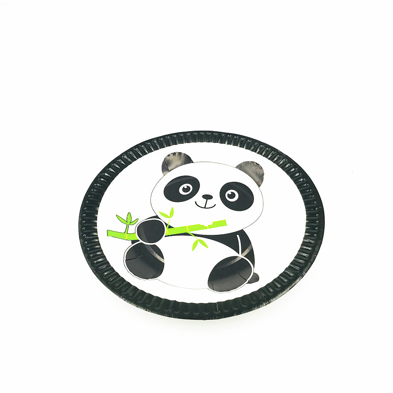 10PCS LOT PANDA PLATES PANDA DISHES KIDS BABY SHOWER PARTY SUPPLIES PANDA PAPER PLATE in Disposable Party Tableware from Home Garden