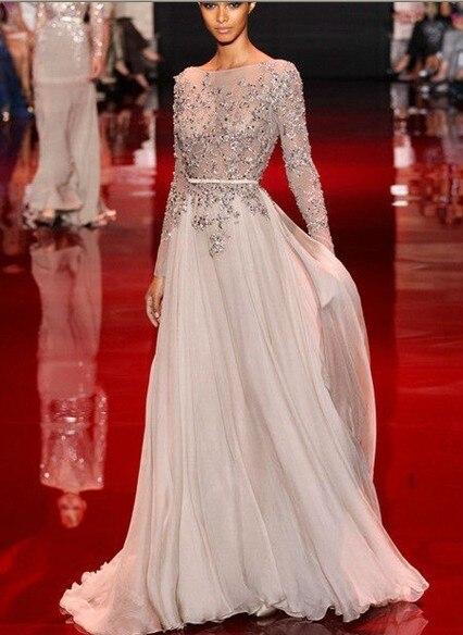 Aliexpress.com : Buy 2014 formal dress silk long sleeve dress elie ...