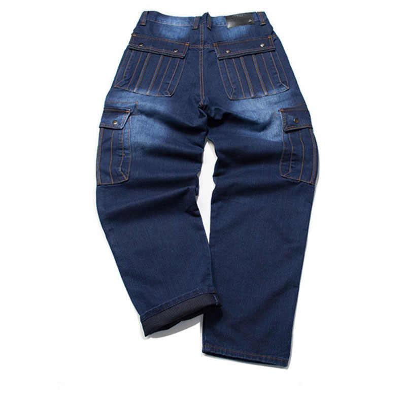 Pantalones de motorista de moda para hombre Idopy, pantalones de mezclilla Cargo de talla grande holgados con varios bolsillos de estilo japonés para Hipster