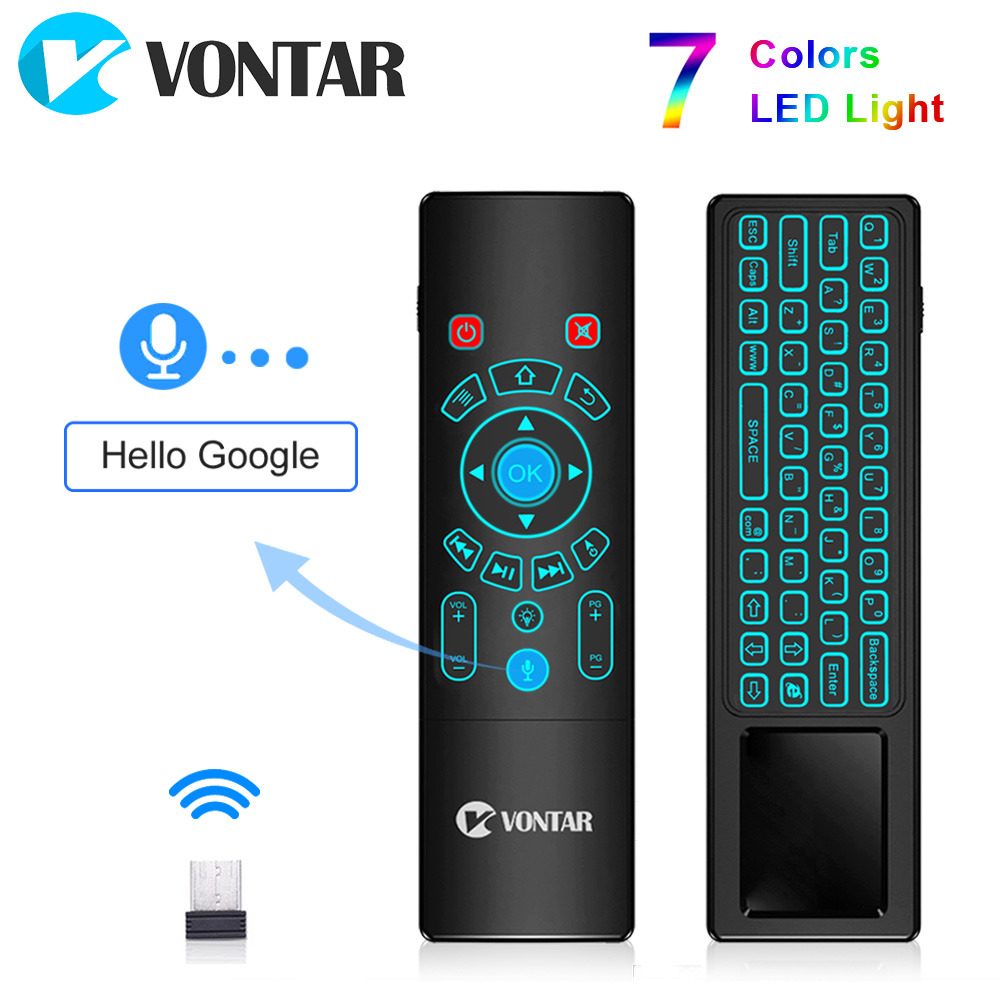 <font><b>VONTAR</b></font> <font><b>T8</b></font> <font><b>Plus</b></font> Backlit 2.4GHz Air Mouse Mini Wireless Keyboard Touchpad Voice Remote Control T6 <font><b>Plus</b></font> For Android TV Box PC image