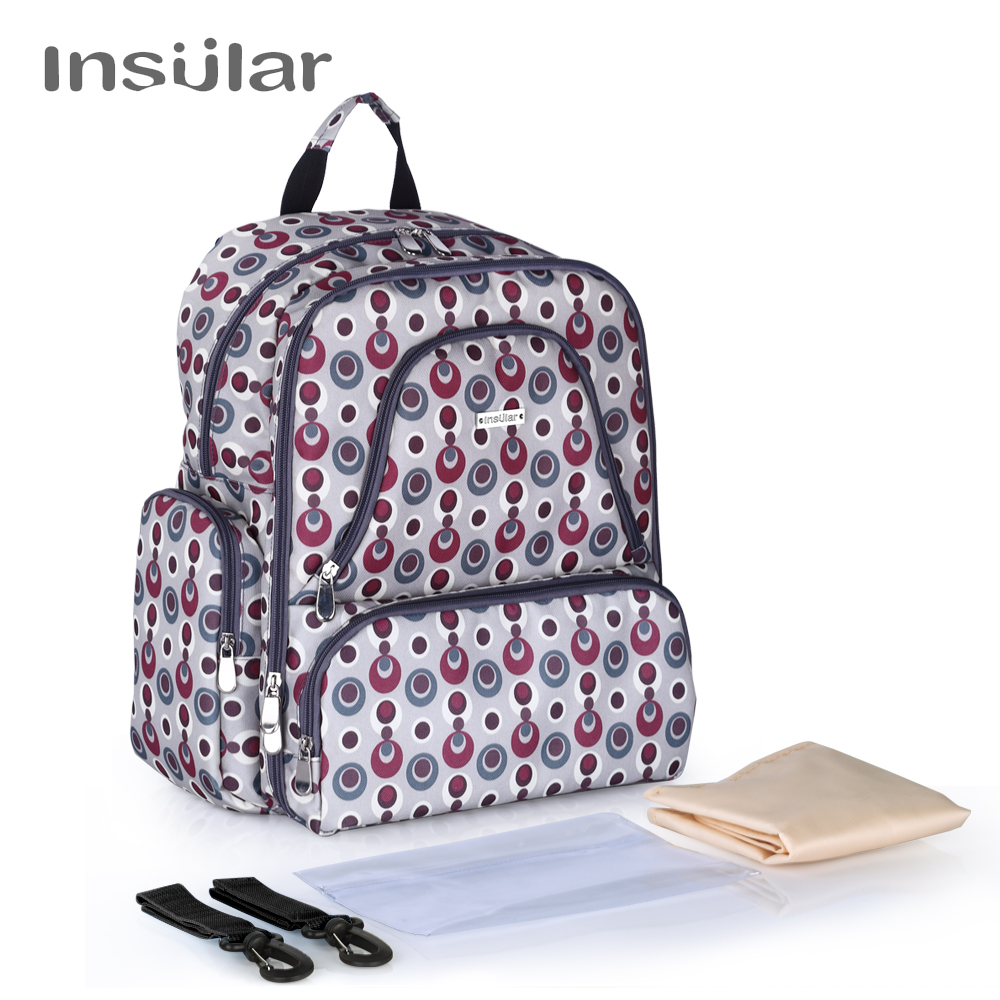 Insular Brand Multifuntion Baby Diaper Backpack Mummy Bag Baby Waterproof Changing Backpack цена